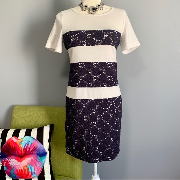 Blue East Dresses & Skirts - Blue East Lace Striped Short Sleeve Shift Dress C4